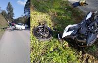 Colisão frontal entre carro e moto deixa motociclista ferido na SC 114 em Itaiópolis