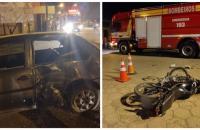 Colisão entre carro e moto deixa motociclista ferido em Papanduva