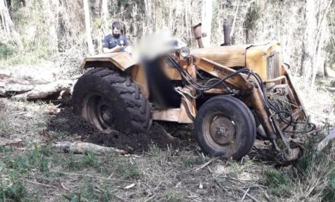 Homem morre ao ser atingido por árvore enquanto dirigia trator em São Bento do Sul