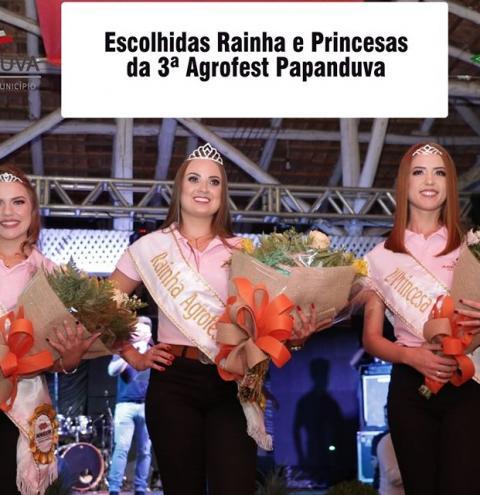 Escolhidas Rainha e Princesas da 3ª Agrofest Papanduva.